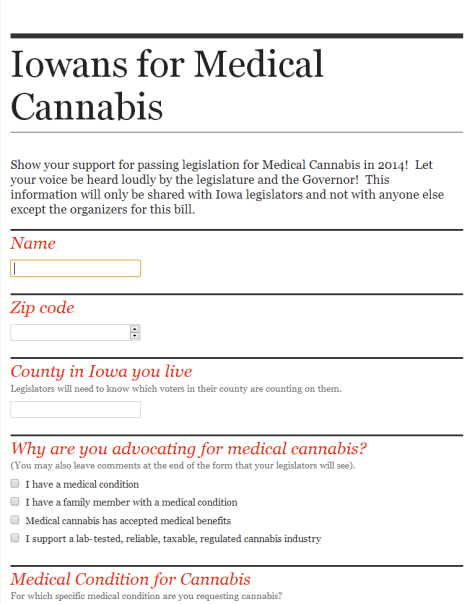Iowa Supporters: Make A Statement About How You Feel About A Strict Medical Cannabis Program